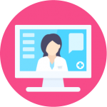 A doctor presents a webinar